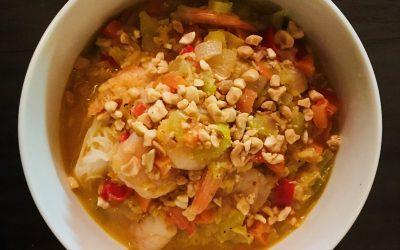 Soupe-repas végé au lait de coco à la thaie